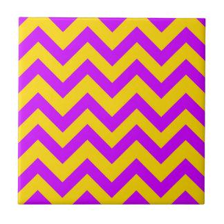 Purple And Orange Chevrons Small Square Tile