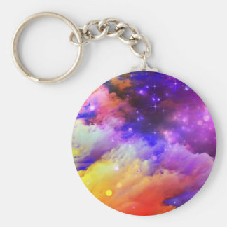 Purple and orange cosmos basic round button key ring