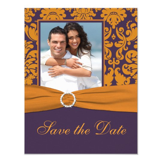 Purple and Orange Damask Photo Save the Date Card