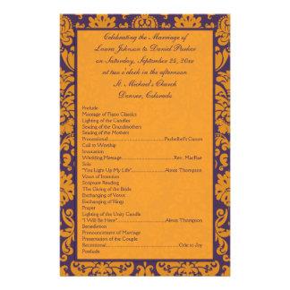 Purple and Orange Damask Wedding Program II Flyer Design