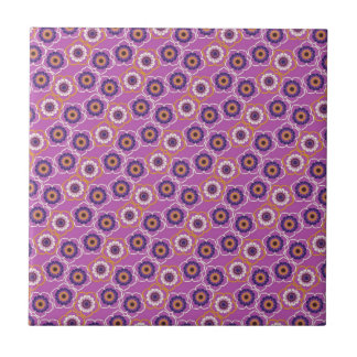 Purple and Orange Floral Pattern Gifts Ceramic Tiles
