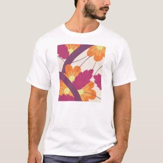 Purple and Orange Floral Pattern T-Shirt