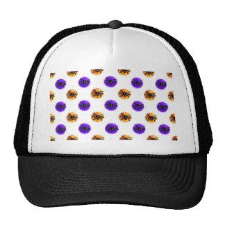Purple and Orange Halloween Cookie Pattern Hat