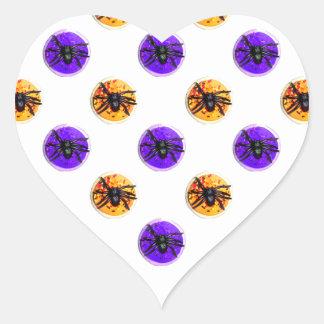 Purple and Orange Halloween Cookie Pattern Heart Stickers