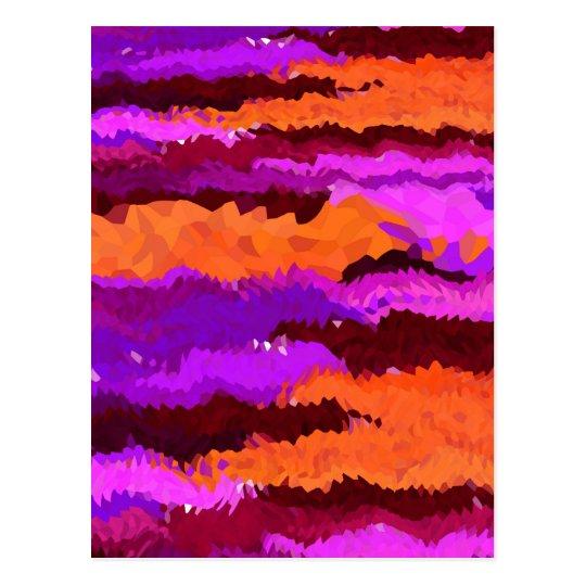 Purple and Orange Kaleidoscope Waves Postcard