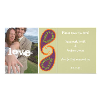 Purple and Orange Paisley Save the Date Your Photo Card