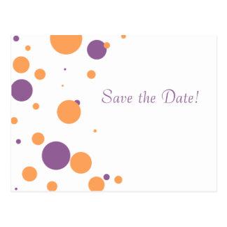 Purple and Orange Polka Dots Save The Date Postcard