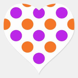 Purple and Orange Polka Dots Heart Sticker