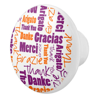 Purple and Orange Thank You Word Cloud Ceramic Knob