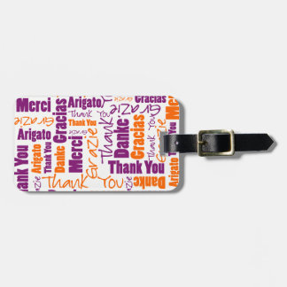 Purple and Orange Thank You Word Cloud Luggage Tag
