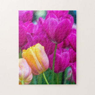 Purple and orange tulips photo puzzle