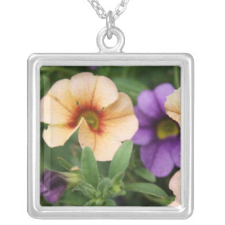 Purple and Peach Flowers Square Pendant Necklace