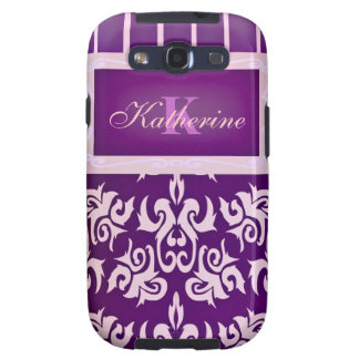 Purple and Peach, Striped Damask Galaxy S3 Cover