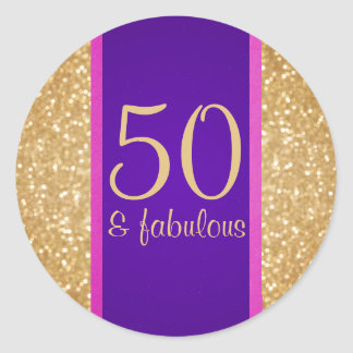 Purple and Pink 50 & Fabulous 50th Birthday Round Sticker