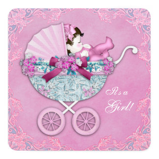 Purple and Pink Baby Carriage Baby Girl Shower 13 Cm X 13 Cm Square Invitation Card
