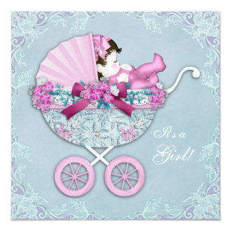Purple and Pink Baby Carriage Baby Girl Shower Card