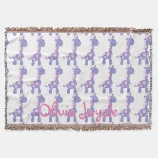 Purple and Pink Baby Giraffe Throw Blanket