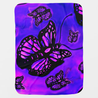 Purple and pink butterfly baby blanket