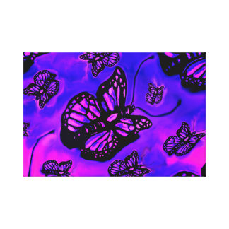 Purple and pink butterfly canvas piece canvas print