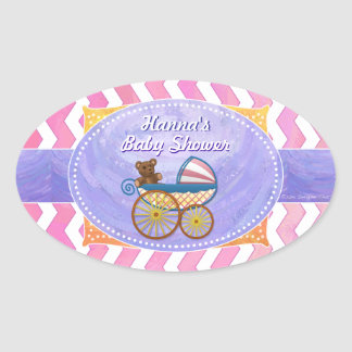 Purple and Pink Chevron Custom Baby Shower Oval Sticker