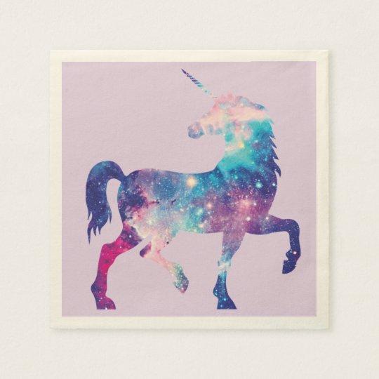 Purple and Pink Cosmic Unicorn Napkin Paper Napkins