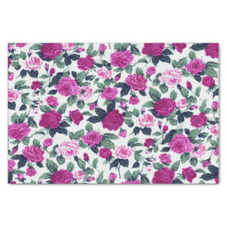 Purple and Pink Country Flower Print Tissue Paper