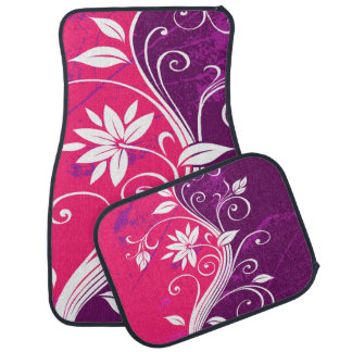Purple and Pink Floral Grunge Car Mat