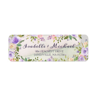 Purple and Pink Floral Return Address Labels