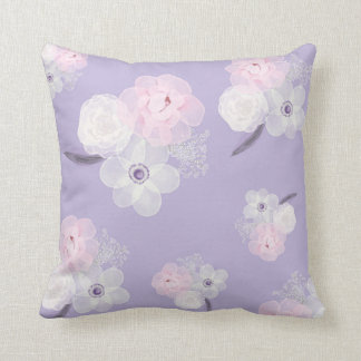 Purple and Pink Floral Watercolor Pillow