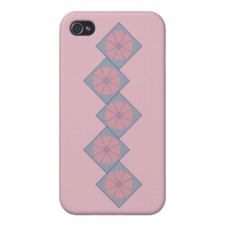 Purple and Pink Flower Border iPhone 4 Cases