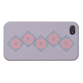 Purple and Pink Flower Border Cover For iPhone 4
