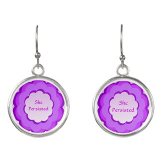 Purple and Pink Flower She Persisted Drop Earrings