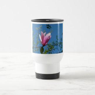 purple and pink flowers, magnolia, blue sky stainless steel travel mug