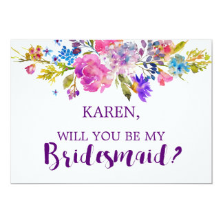 Purple and Pink Flowers Will You Be My Bridesmaid Card