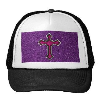 Purple and Pink Glitter Cross Cap