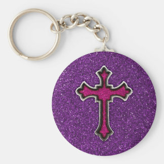 Purple and Pink Glitter Cross Key Ring