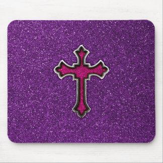 Purple and Pink Glitter Cross Mouse Mat