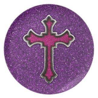 Purple and Pink Glitter Cross Plate