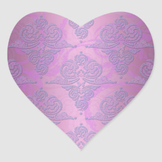 Purple and Pink Grunge Victorian Floral Damask Heart Sticker