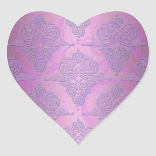 Purple and Pink Grunge Victorian Floral Damask Heart Stickers