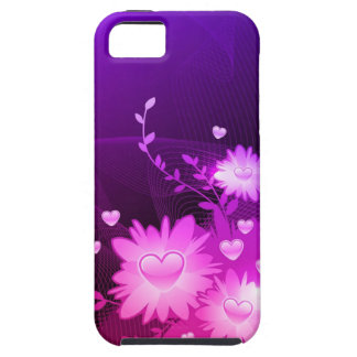 Purple and Pink Heart Floral Abstract iPhone 5 cas Case For The iPhone 5