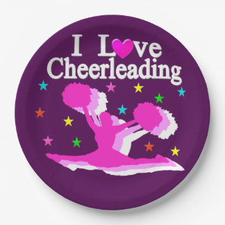 PURPLE AND PINK I LOVE CHEERLEADING PAPER PLATES 9 INCH PAPER PLATE