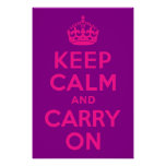 Purple and Pink Keep Calm and Carry On Poster
