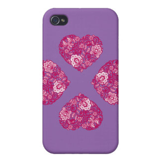 Purple and Pink lace heart phone case 1phone 4s Cases For iPhone 4