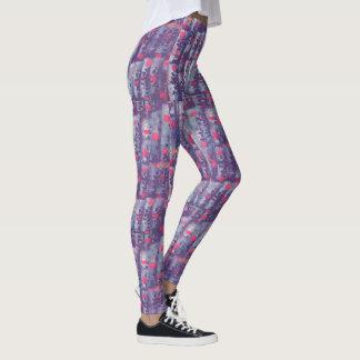 purple and pink leaf print leggings