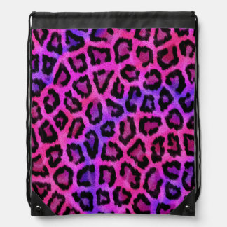 Purple and pink leopard print drawstring bag