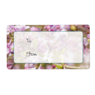 Purple and Pink Lilac Flower Picture Gift Tag Shipping Label