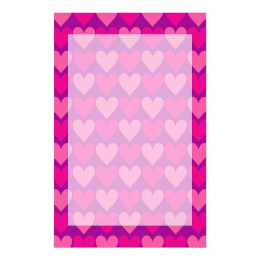 Purple and Pink Mod Hearts Stationery Design