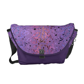 Purple and Pink Music Notes Pattern On Purple Bag Messenger Bag