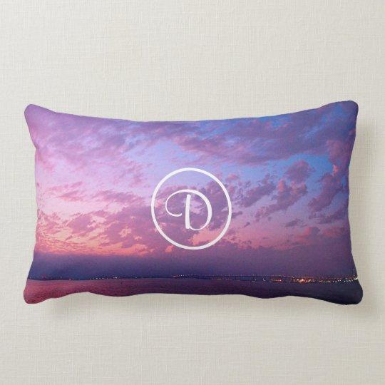 Purple and pink ocean sunset photo custom monogram lumbar cushion